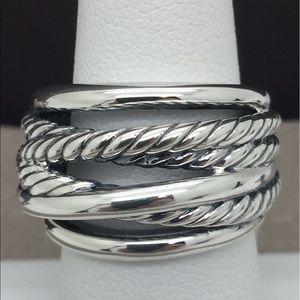 "David Yurman 925 Sterling Silver Crossover Ring ""7"